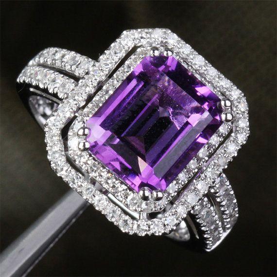 VVS Dark Purple Amethyst & Diamond 5.11ct 14k White by ThisIsLOGR, $770.00 Main Stone:Genuine Natural Amethyst Measurements: 8x10mm Emerald Cut Carat Weight: 4.09ct (VVS)  Accent Stones:Natural Diamonds Carat Weight: 0.92ct