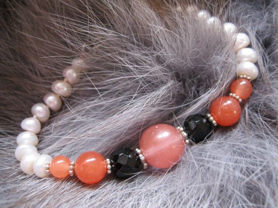 Cherry Quartz, Black Jet, Pearl Bracelet and Sterling Silver Bracelet