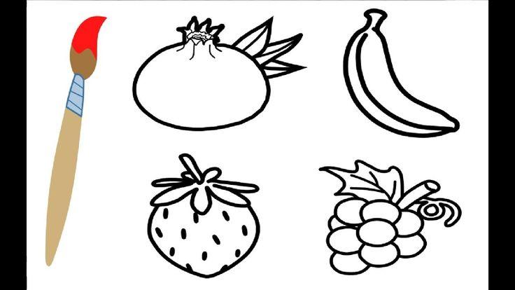 Coloring Book Pomegranate, Banana, Strawberry and Grape