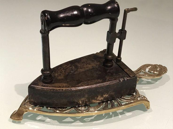 Antique Victorian Box Iron,(Flat Iron) Wood Handle With Slug Iron,& Brass Trivet  | eBay