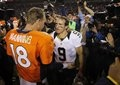 Peyton Manning meets Saints QB Drew Brees at midfield after the game. Broncos vs. Saints 10-28-2012