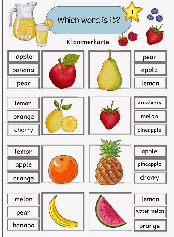 """Fünf Klammerkarten mit englischen Obstbegriffen  Mit diesen fünf Klammerkarten  lassen sich die Vokabeln rund ums Thema """"fruits"""" üben. Die ..."""