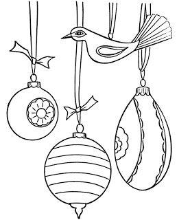 Desenhos para colorir gratuitas: Enfeites de Natal para colorir página