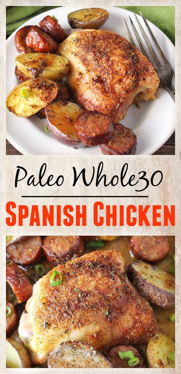 Paleo Whole30 Spanish Chicken- one  pan, so easy, and flavorful! Gluten free, dairy free, and a meal the whole family will love.