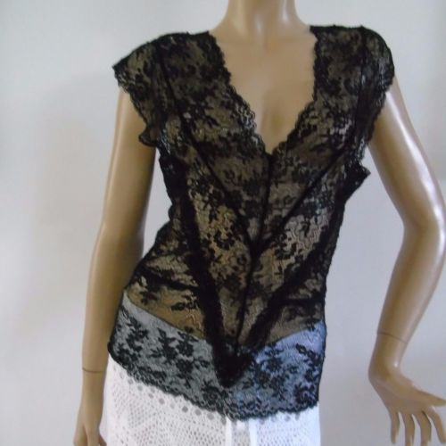 Clubwear-Tank-Top-Black-Lace-Top-Size-M-Sleeveless-Nylon-Cami-French-Boutique