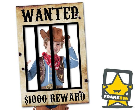 Wanted Poster Instant Download 8 Sizes Included Photo Booth Frame Western Party Props Cowboy Party Decorations Cowboy Party Decorations Photo Booth Frame Party Props