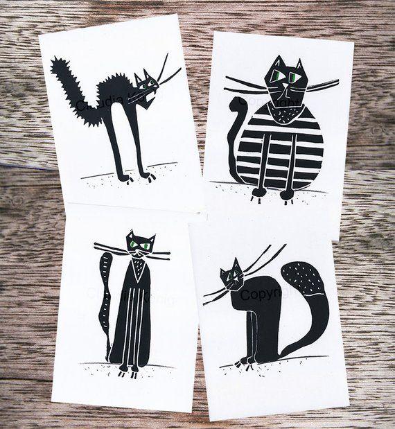 Art Postcards Cats 4 Seer Set Black And White Postcards