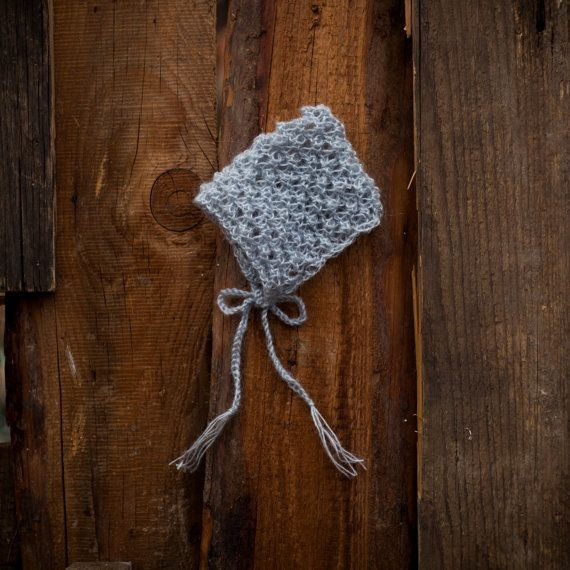 Gray newborn baby mohair bonnet baby knit by GabriCollection