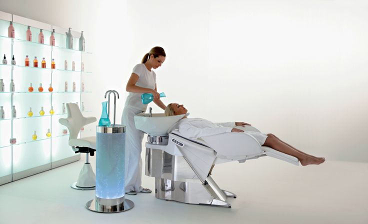 Maletti Wash and Relax Collection consists of Maletti Specific Hair Water System, Maletti Madre Shampoo Basin, Maletti Madre Stool and Maletti Expo Display Stands