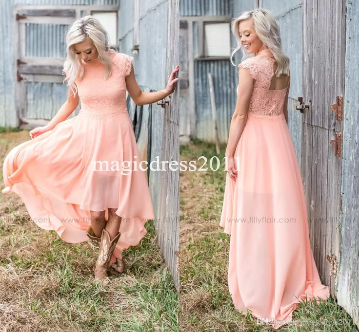 2017 Modern Peach Lace Bridesmaid Dresses for Country Wedding A-Line High Neck Hi-Lo Chiffon Bohemian Beach Wedding Party Evening Dresses Country Wedding Cheap Bridesmaid Dresses Long Maid of Honor Dress Online with $94.0/Piece on Magicdress2011's Store | DHgate.com
