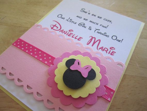 Pink Baby Minnie Mouse Inspired - Handmade Invitation, Modern and Elegant- Birthday or Baby Shower via Etsy