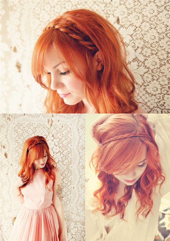 easy and simple red head band hair style for girls with 18 inch colored hair extension clip on