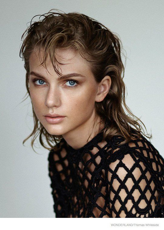 Taylor Swift Wears Bold Eyebrows in Wonderland Shoot by Thomas Whiteside