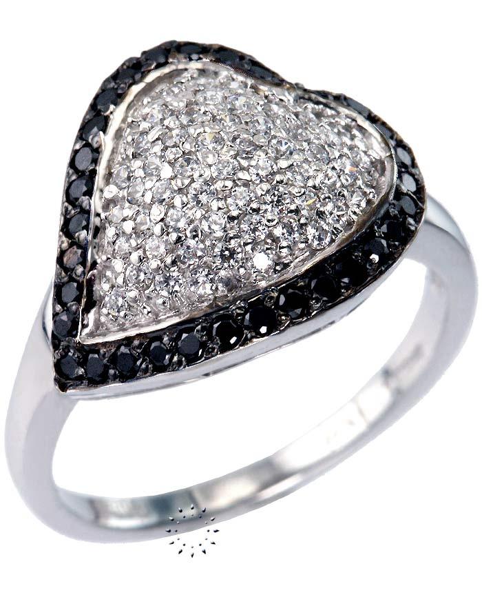 Δαχτυλίδι Καρδιά 14 καράτια Λευκόχρυσο με Ζιργκόν  305€  http://www.kosmima.gr/product_info.php?products_id=10511