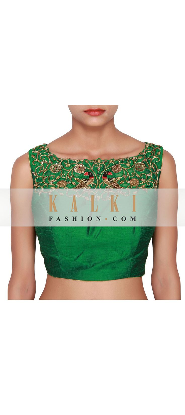 Buy Online from the link below. We ship worldwide (Free Shipping over US$100) http://www.kalkifashion.com/green-blouse-featured-in-raw-silk-embellished-in-gold-zardozi-work-on-the-neckline-both-front-and-back-only-on-kalki.html