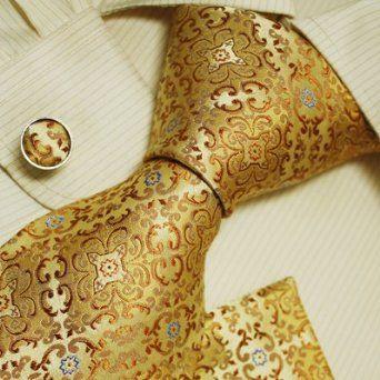 Gold pattern mens tie yellow christmas gift Italian style necktie, hanky, cufflinks set - $29.99