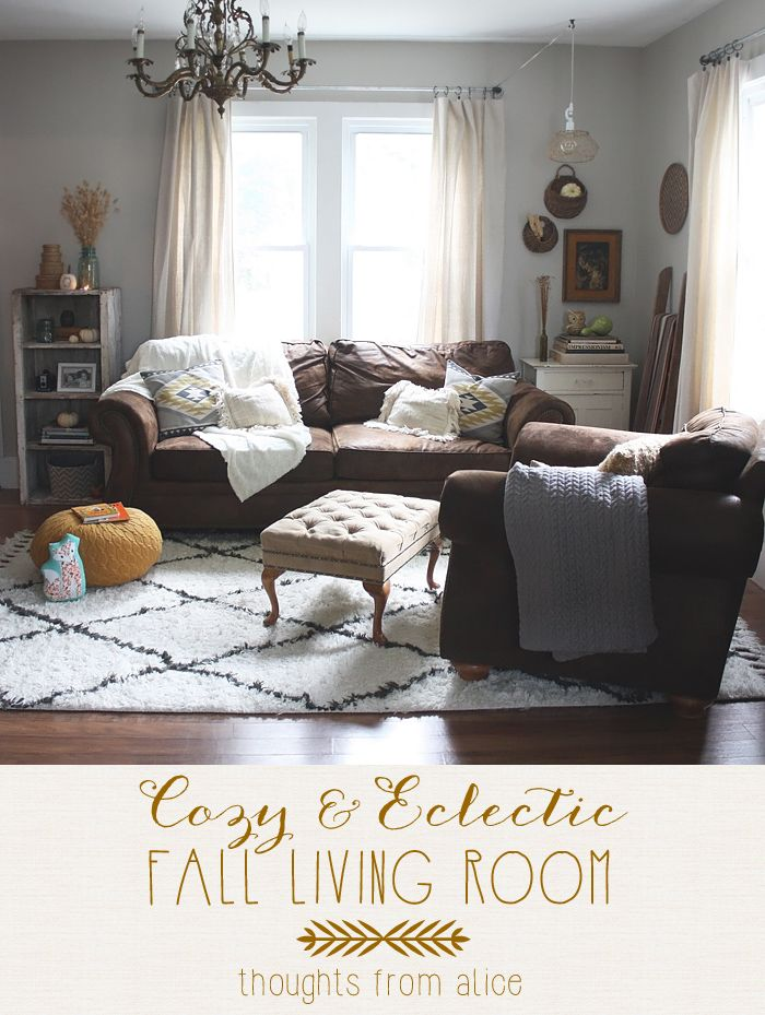 Thoughts from Alice: Cozy Eclectic Fall Living Room