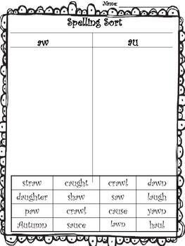 9 best images about Word Work: aw, au on Pinterest