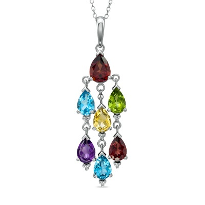 Semi-Precious Pear-Shaped Gemstone Chandelier Pendant