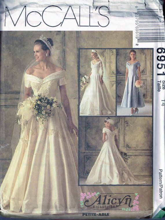 a126cf8c80e Size 14 Wedding Dress Sewing Pattern - Off Shoulder V Neck V Back Wedding  Gown - Full SKirt Dress -