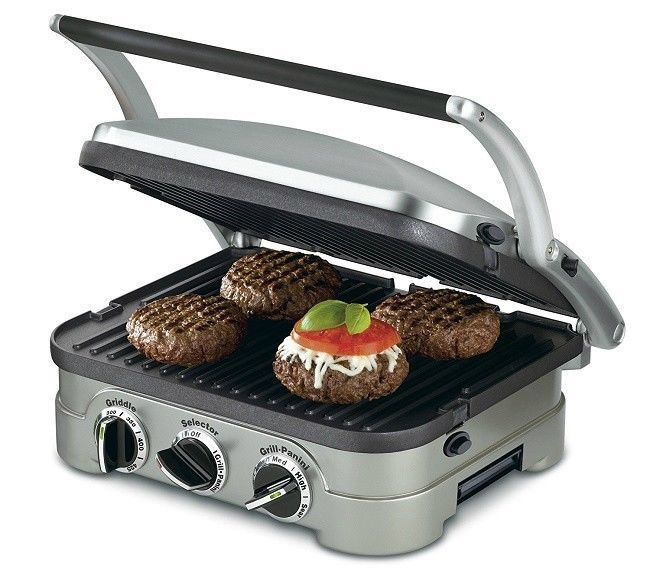 Panini Press With Removable Plates Electric Griddle Flat Grill Stainless Steel #Cuisinart