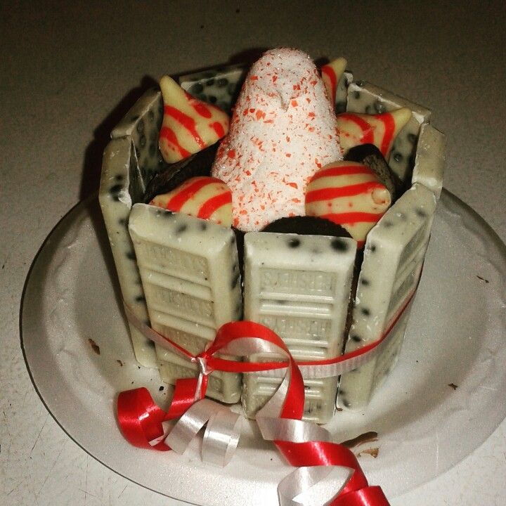 Hersheys Cookies and Cream Mini Cake with Candy Cane Peep, Kisses and Oreos