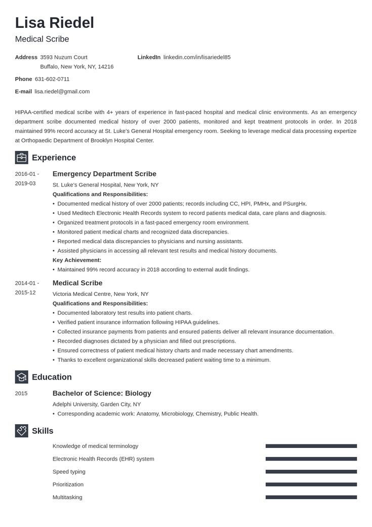 Medical scribe resume example template newcast in 2020