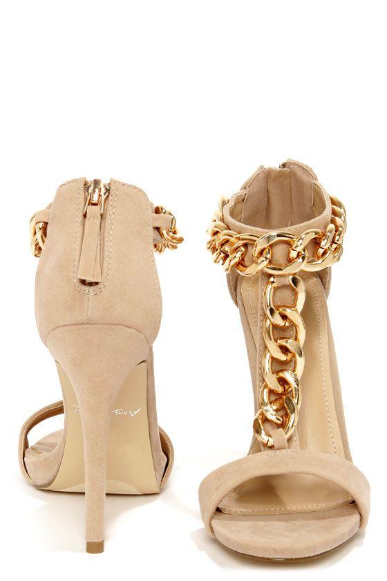Anne Michelle Perton 20 Blush and Gold Chain Dress Sandals