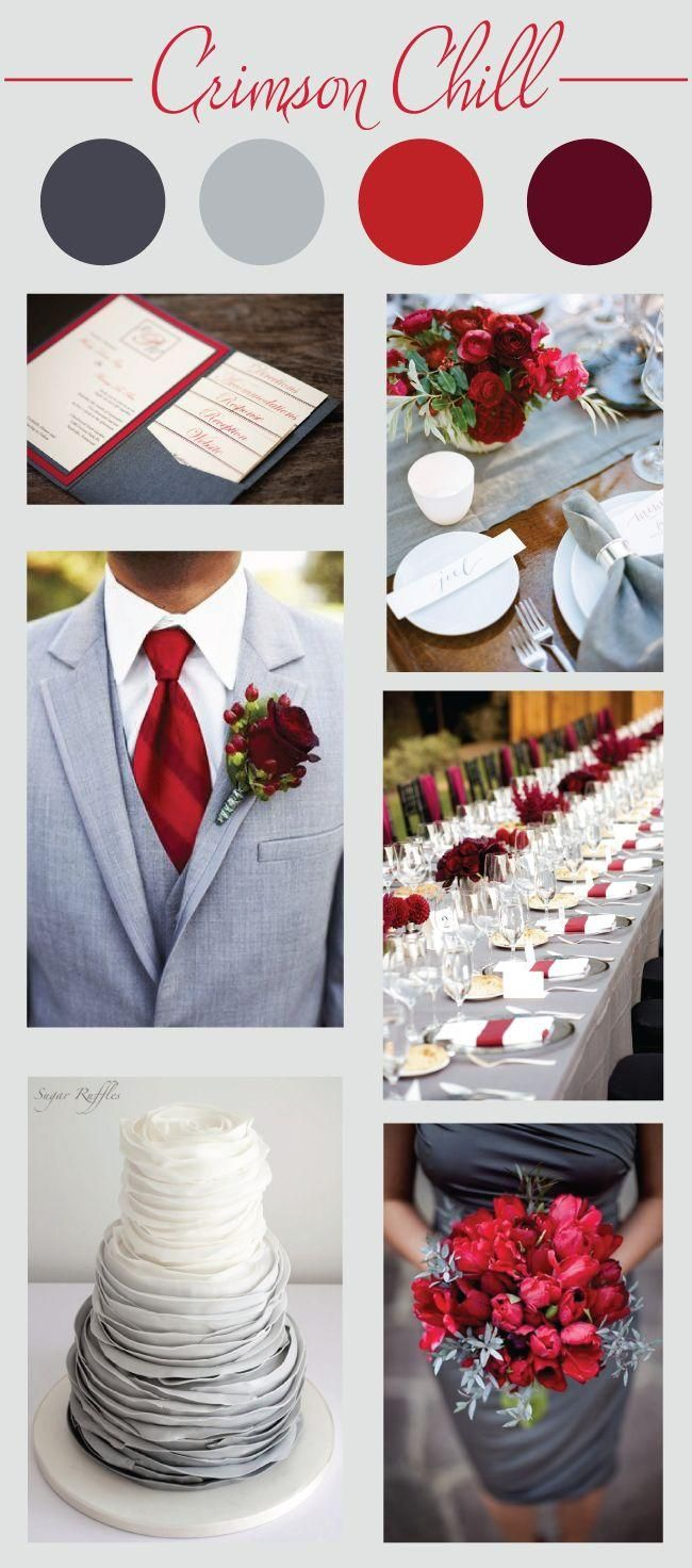 Crimson Chill Wedding Color Palette// red, grey and maroon color scheme