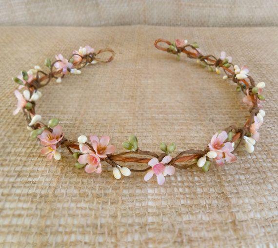 Braut Haarreif, Krone Rosa Blumenmädchen, Braut Blume Halo Hochzeit Toupet - LYLA ROSE-Lila Rosa und grün, Wald, Hochzeit, floral