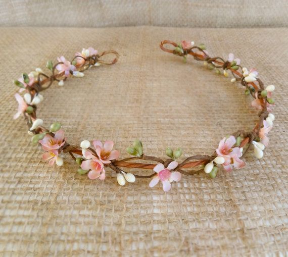 bridal circlet, pink flower girl crown, bridal flower halo, wedding hairpiece - LYLA ROSE- mauve pink and green, woodland wedding, floral on Etsy, $60.00