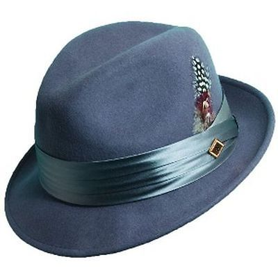 STACY ADAMS GREY WOOL FEDORA HAT CRUSHABLE SATIN