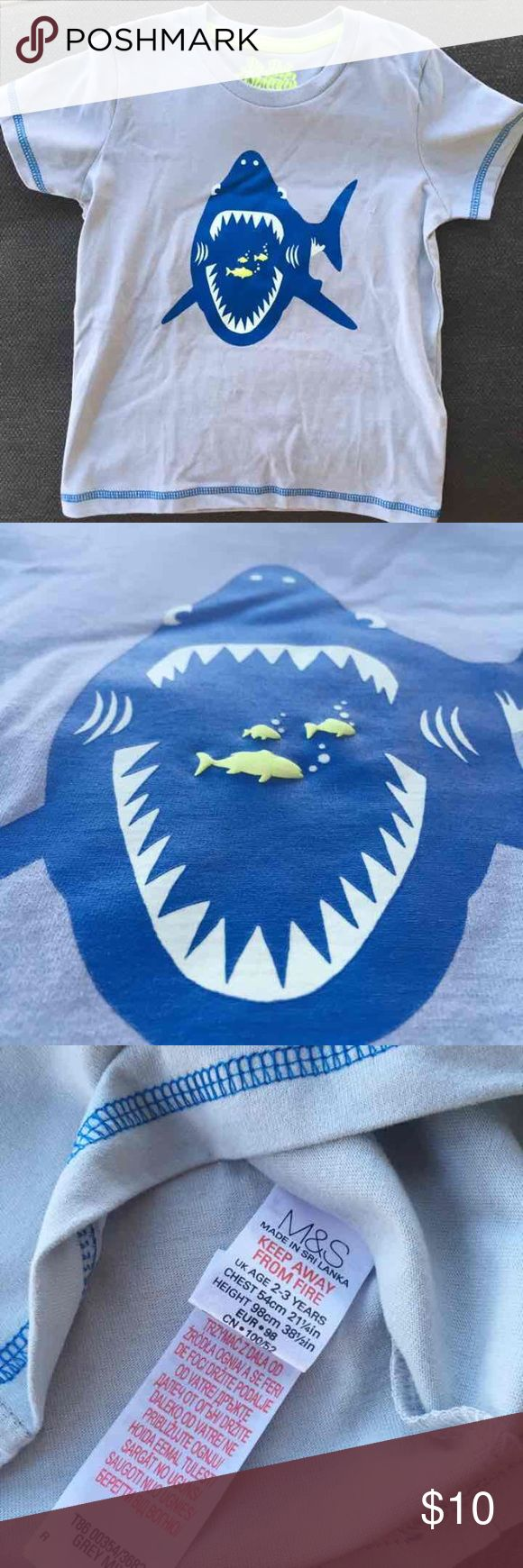 NWOT grey tshirt. Brand new. Soft cotton.  Can be used as tshirt for play or sleep time.  Nice detail on the little fish.  By Marks & Spencer, UK. M&S Shirts & Tops Tees - Short Sleeve