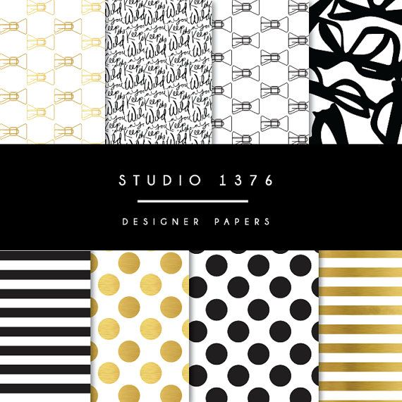 Black and Gold Kate Spade Inspired Paper and Pattern by ...