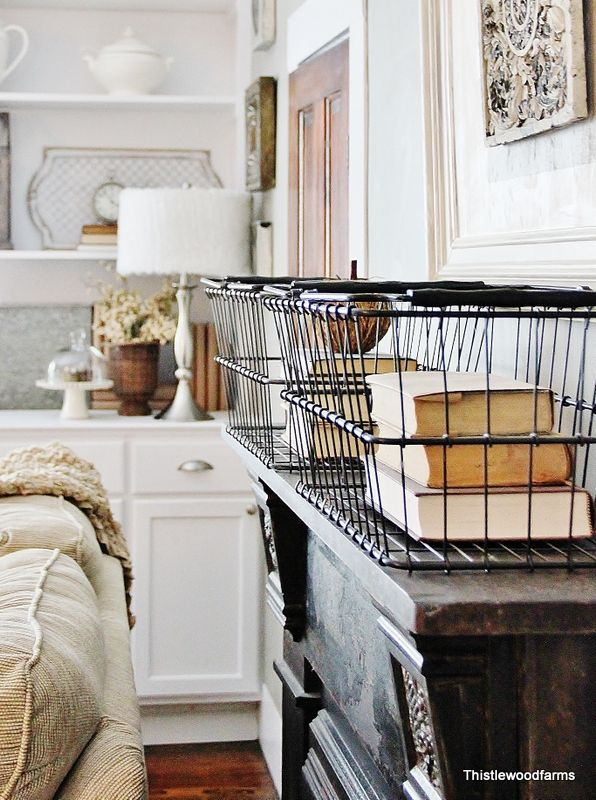 Fireplace_With_Baskets: Decor Ideas, Farmhouse Houses, Century Farmhouse, Thistlewood Farms, Metals Baskets, Industrial Farmhouse, Farmhouse Style, Vintage Wire Baskets, Houses Tours