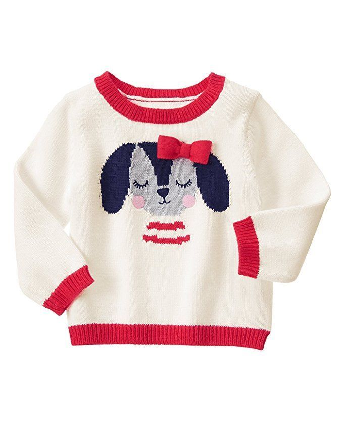 GYMBOREE Fun At Heart Baby Girls Puppy Sweater Pullover Ivory Red 12-18 18-24 Mo #Gymboree #Pullover #CasualPlaywearEveryday