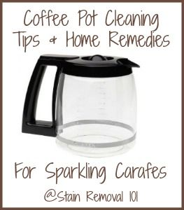 Lots of easy and natural ways to clean your coffee pot, most likely with ingredients you've already got on hand in your home.