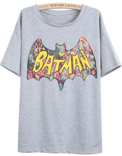 Grey Short Sleeve BATMAN Print T-Shirt - Sheinside.com Mobile Site