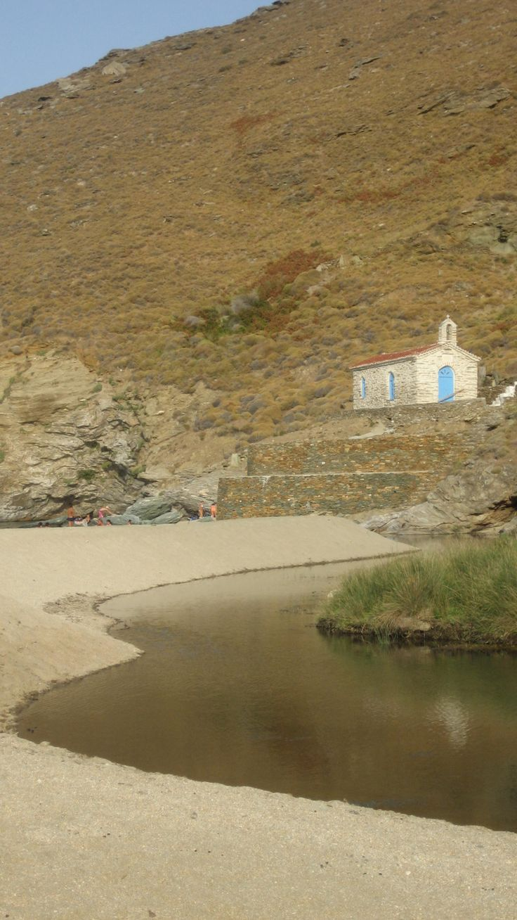 The chapel of saint Nicholas in Achla beach , where Achlas river meets the sea of Aegean, in Andros!