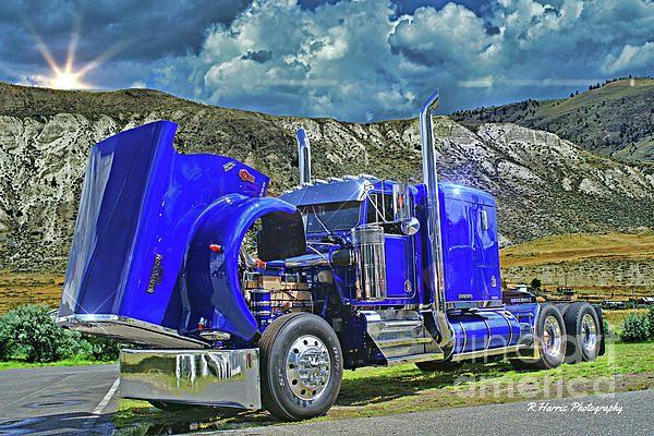 Semi Truck Hoods : Blue kenworth with hood up rharrisphotos big rig