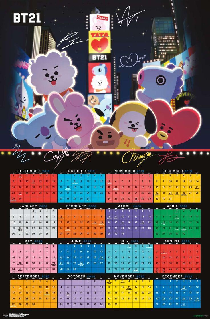 2020 Poster Calendar BT21 di 2020 Pola doodle, Kreatif