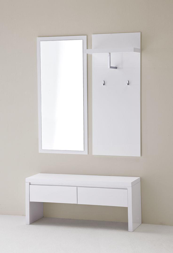 Wandspiegel Bianco I Hochglanz weiß passend zum Möbelprogramm Bianco 1 x Wandspiegel mit Facettenschliff Maße: B/H/T ca.   51 x 121 x 2 cm Material:... #flur #garderobe #spiegel