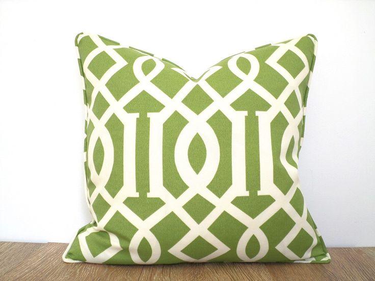 Green Outdoor Pillow Case 18x18, Geometric Cushion Cover, Imperial Trellis  Pillow Case , Pistachio