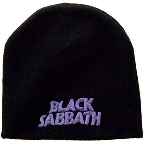 """Official Black Sabbath 100% acrylic beanie featuring embroidered logo on front.  One size fits most, size measures approx 20cm x 20cm (8"""" x 8"""") laid flat."""
