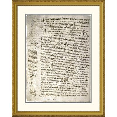 Global Gallery 'Codex Leicester: Science of Waves' by Leonardo Da Vinci Framed Textual Art Size: