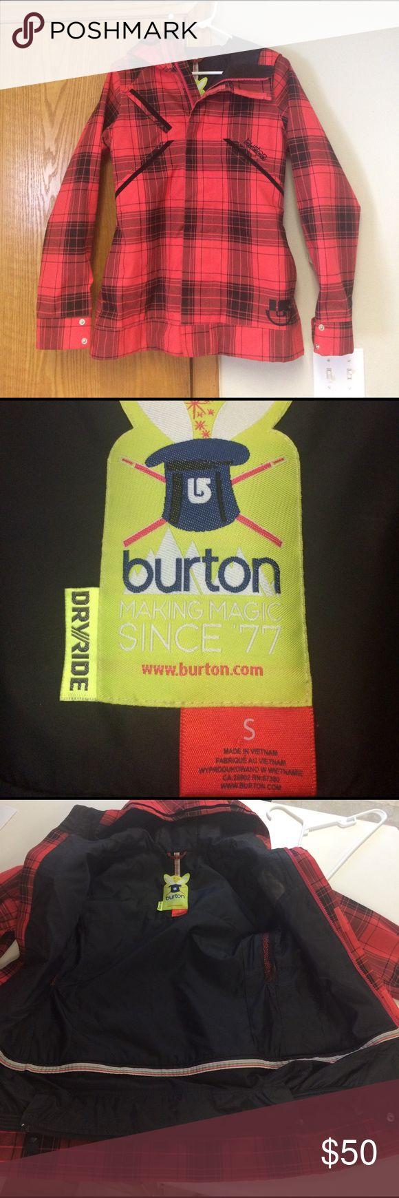 SALE!! Burton dryride snowboard jacket Black and red plaid Burton jacket. SALE TODAY ONLY 2/16/2017 Burton Jackets & Coats