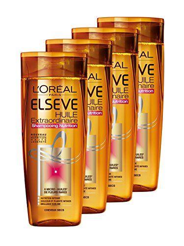L'Oréal Paris Elsève Huile Extraordinaire Shampooing Nutrition pour Cheveux Secs 250 ml  - Lot de 4 Price:     L'Oréal Paris Shampooing Nutrition pour Cheveux SecsEnrichi en 6 Micro-Huiles de Fleurs Rares pour une che... en savoir plus https://pourlesbelles.fr/produit/loreal-paris-elseve-huile-extraordinaire-shampooing-nutrition-pour-cheveux-secs-250-ml-lot-de-4/
