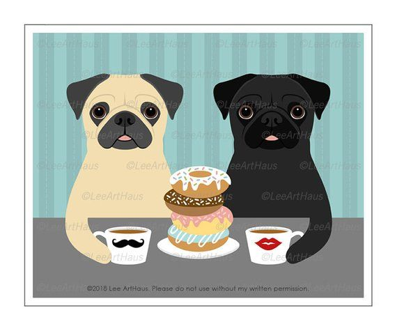 525d Funny Dog Print Two Pugs Eating A Stack Of Donuts Wall Art