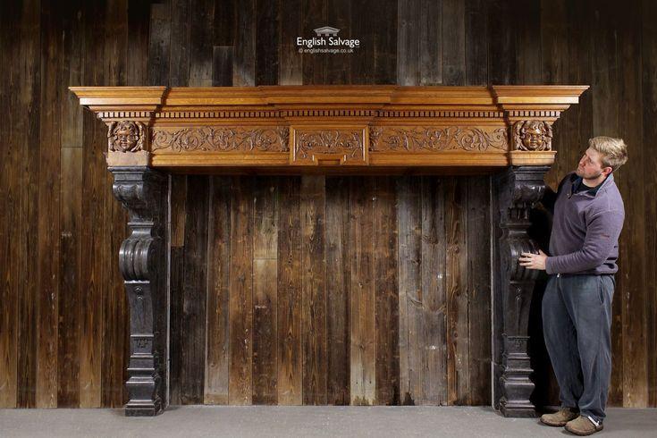 Imposing late 19th Century fire surround with a hand carved oak mantel and Belgium blue limestone legs. . . #englishsalvage #interiors #interiorideas #homerenovation #finditstyleit #homestyle #interiorarchitecture #decor #designer #vintage #antique #reclamation #available #props #filmprops #productiondesigner #setdesigner #forsale #unique #rare #architecturalresource #accessories #retro #vintageinspired #decordesign #handmade #restoration #preservation #vintageshop #dmforprice #vintagefinds…