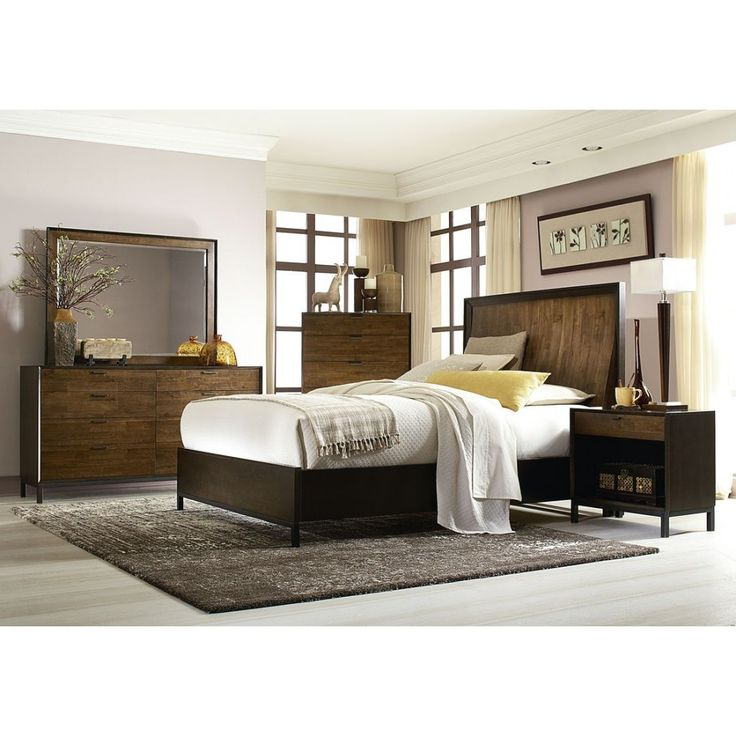 legacy classic kateri curved panel bedroom set in hazelnut with ebony exteriors finish